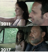 Memes, 🤖, and Thewalkingdead: 2011  THERICKYGRIMES HORRORVIXEN 101  2017 Lawray or Michonne? thewalkingdead