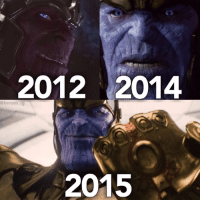 Memes, Heroes, and Thanos: 2012 2014  @heroes  ig  2015 Which Thanos appearance is your favorite?  (Andrew Gifford)