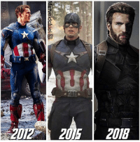 Memes, Nerd, and Superhero: 2012 2015 2018 Cap is one of my favorite charachter ever!😆 TAG A FRIEND! Follow me nerds! - - - - captainamericacivilwar captainamerica civilwar marvel ironman avengers spiderman doctorstrange antman wintersoldier bucky teamironman teamcap falcon hawkeye scarletwitch blackpanther superhero epic instacool amazing movie nerd nerdy geek nerdlife