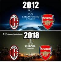 Arsenal, Soccer, and How: 2012  E F  CHAMCUONS (Arsenal  LEAGUEArsenal  1899  F2018  O Marcos Fussballecke  EUROPA  LEAGUEArsenal  It  1899 How times have changed... https://t.co/dTvxhUV4pN