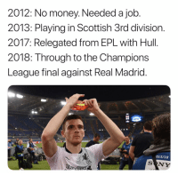 Andrew Robertson!!: 2012: No money. Needed a job  2013: Playing in Scottish 3rd division.  2017: Relegated from EPL with Hull.  2018: Through to the Champions  League final against Real Madrid  015/18  SONY  Standarol Andrew Robertson!!