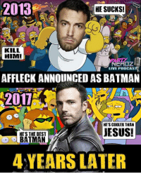 "Batman, Books, and Future: 2013  HE SUCKS!  GO  KILL  HIM!  LIVE PODCAST  AFFLECK ANNOUNCED AS BATMAN  HE'S COOLER THAN  JESUS!  HE'S THE BEST  BATMAN  4 YEARS LATER 🤷🏽‍♂️ We can't lie.. We we're one of the MANY who thought Ben Affleck cast as Batman was a terrible decision back in 13'.... But we NOT ONLY humbly retract our statement, but we think @benaffleck has TOTALLY justified the Black Cowl & we look forward to his future representation of the Dark Knight. . LET'S SEE HOW MANY HONEST FOLLOWERS WE HAVE... WHO ELSE ADMITS BEING ONE OF THE BATFLECK HATERS BEFORE SEEING HIM IN BvS?? . 🎤TONIGHT the Partynerdz pay their respect to the late great ADAM WEST aka Batman aka Mayor West. We take a look at how the Batman series from the 70's was instrumental to bringing comic books to main stream leading up to today's ""Batmen"" . 📺 We will ALSO discuss the awesome Gotham finally, our thoughts and our initial on the series and it's often negative backlash. . benaffleck batman gotham riddler adamwest podcast dccomics wonderwoman superhero gamer classictv aquaman theflash bvs nerd justiceleague darkknight familyguy cartoon radio cosplay cosplayer discuss cyborg injustice2"