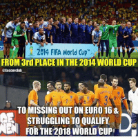 2014 FIFA World Cup  FROM 3rd PLACE IN THE 2014 WORLD CUP  @Soccer club  TO MISSING OUT ON EURO 168  STRUGGLING TO QUALIFY  ENA FORTHE 2018 WORLD CUP 😢