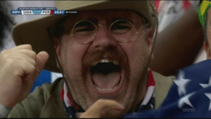 memeguy-com:  Teddy Roosevelt spotted cheering during the USA vs Portugal game  OMG: 2014 FIFA WORLD CUPGROUP G  USA 1-1 POR  ESPN  65:01  YunoR  EErto memeguy-com:  Teddy Roosevelt spotted cheering during the USA vs Portugal game  OMG