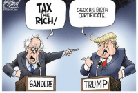 "America, Bad, and Bernie Sanders: 2015  CHECK HIS BIRTH  CERTIFICATE  THE  SANDERSTRUMP <p><a href=""http://redbloodedamerica.tumblr.com/post/131067173682/daddypatriarchy-redbloodedamerica"" class=""tumblr_blog"">redbloodedamerica</a>:</p>  <blockquote><p><a class=""tumblr_blog"" href=""http://daddypatriarchy.tumblr.com/post/131066076231"">daddypatriarchy</a>:</p> <blockquote> <p><a class=""tumblr_blog"" href=""http://redbloodedamerica.tumblr.com/post/131065535067"">redbloodedamerica</a>:</p> <blockquote> <p><a class=""tumblr_blog"" href=""http://lunaandtrixiemod.tumblr.com/post/131062673802"">lunaandtrixiemod</a>:</p> <blockquote> <p><a class=""tumblr_blog"" href=""http://chris-the-anti-sjw.tumblr.com/post/131060573133"">chris-the-anti-sjw</a>:</p> <blockquote> <p><a class=""tumblr_blog"" href=""http://lupinerage.tumblr.com/post/131053288344"">lupinerage</a>:</p> <blockquote> <p><a class=""tumblr_blog"" href=""http://redbloodedamerica.tumblr.com/post/131047779822"">redbloodedamerica</a>:</p> <blockquote> <p><a class=""tumblr_blog"" href=""http://lupinerage.tumblr.com/post/130996605679"">lupinerage</a>:</p> <blockquote> <p><a class=""tumblr_blog"" href=""http://redbloodedamerica.tumblr.com/post/129236100900"">redbloodedamerica</a>:</p> <blockquote> <p>Two one-trick ponies.</p> </blockquote> <p>Except taxing the rich the way they're supposed to be taxed would help a whole fucking lot.</p> </blockquote> <p>What do you mean by ""taxing the rich the way they're supposed to be taxed""? How would that be exactly?  Do you know how much the ""rich"" are taxed today?</p> </blockquote> <p>Lemme put it to you this way: I work a near-minimum wage job at 12% income tax. This is where a  lot of Americans are these days. That tax money accounts for approximately 20% of the tax money for the US government. The other 80%? The top 1% of Americans paying an average of 20%, give or take. And yet while I struggle to pay rent, keep my car insured and running, and put food on the table, the top 1% have four houses, a dozen sports cars, private islands, yachts, and private jets, all of which they pay to own and maintain. And yet they still have more money left over than it is humanly possible to spend unless you want to buy your own country.</p> <p>So when I say ""tax the rich the way they should be taxed"" I mean ""tax them in such a way that they're still able to live their extravagant lifestyles but I wouldn't have had to bury my dad because we couldn't pay his damn hospital bills"". And if you want sources for any of this, do a quick Google search. The first three or four links should be very informative for you.</p> </blockquote> <p>Where's that comic of Bernie sanders kicking down a sandcastle and saying ""stop having a better sandcastle than me"" </p> <p>I'm sorry for your current situation, I really am, but it's not like it's the rich's fault</p> </blockquote> <p>Yeah but the rich have enough money that raising their taxes won't affect them but it'll affect the rest of the country in a positive way </p> <p>Also, trump doesn't even need negative reasoning, he's just a straight up asshole with no filter that will probably get us in trouble with other countries</p> </blockquote> <p>So, what's an acceptable amount the ""rich"" should pay of their own earnings and what income range should be considered for that particular bracket?  What, in your opinion, is ""enough money"" exactly?</p> </blockquote> <p>We have lost track of what is public and what is private.<br/>Natural resources are public, belonging to all the people of the countries possessing the resources. </p> <p><br/>We, the people, own the oil, gas, natural gas, coal, air, water and timber in America, not the Koch Brothers, Weyerhauser, Georgia Pacific, Chevron, Exxon, Peabody, Coca Cola or any private corporation. The private industries, under Roosevelt and Eisenhower, paid 94% tax on their income as the cost of the product owned by the american people. They kept 6% of the profit for themselves as a royalty payment for extracting our resources and selling them back to us. Rockefeller, paying 94% tax, was still the richest man in the world and a philanthropist. Our government used the taxes to provide health, education, job training, low cost home loans and retirement benefits for our citizens. The graduated income tax (those with the greatest resources and incomes paid the most, those in the lower income levels paid the least) helped America become the richest nation with the largest middle class on earth. Until..</p> <p>Richard Nixon, Ronald Reagan, Dick Cheney and the Bushes cut the taxes on the richest among us, and the corporations they owned, to little or nothing, foisting upon us the ludicrous idea a few people, including themselves, should own our natural resources in a scheme they call ""Privatization"". </p> <p>After Kissenger/Cheney's ""Endless War"" scheme, Privatization became the worst of their legacy. They put the fortune in tax dollars we paid for their phony ""defense contracts"", into their offshore and Swiss Bank Accounts, starving our treasury to the tune of 17 Trillion Dollars and virtually eliminating the middle class. Cheney's company, Halliburton, profits from his term as VP and President* Cheney says ""Debt Doesn't Matter"". It Doesn't..To him. He got the money. His intention is to foist the ""debt"" onto you and me. Best we forgive the debt and move on. </p> <p>What is Private? Restaurants, Grocery Stores, Hardware Stores, Resorts, Casino's, laundries, Dry Cleaners, Liquor stores, retail outlets, auto manufacturing, etc. Anything that does not use public resources as its product. Should Jails be privately owned? No, they get all their money from the our public judicial system. Neither you, nor I, nor Corrections Corporation of America, have any right to own and operate prisons for profit. </p> <p>Should you and I be able to have our own Private armies and the weapons of war? No. Neither you, I or Blackwater/XE, has any right to own armies or the weapons of war. That is a public function. Private ""war contractors"", and their ""for profit"" mercenary soldiers, should be eliminated forever by cancelling and never reissuing all their ""contracts"". </p> <p>Our government of by and for the people,"" Democracy"", is a good thing.<br/>This co-oped government of by and for corporations, ""Fascism"", is a bad thing and should be eliminated in the next budget and the 2016 election.<br/><br/>There's a pathetic excuse in this country that hard work and merit equates success. But that simply isn't true in a country that allow estates. Not only should we tax the rich more, we should also do away with estates and implement either a wealth cap or maximum wage. </p> </blockquote>  <figure class=""tmblr-full"" data-orig-height=""224"" data-orig-width=""500""><img src=""https://78.media.tumblr.com/28ffaef1a73efb35d950fece03d62930/tumblr_inline_nw53kky8f41r1jtxd_500.gif"" data-orig-height=""224"" data-orig-width=""500""/></figure><p>Can you do me a favor and not post your bizarre communal ownership nonsense on my posts?  Contrary to what you believe, you co-own nothing of mine, including my posts.  So, post your garbage on your own vacant blog instead of trying to hijack my blog to propagate your gibberish.  Thanks.</p></blockquote>  <p>&ldquo;Not only should we tax the rich more, we should also do away with estates and implement either a wealth cap or maximum wage.&rdquo;</p><p>OK calm down there, Karl Marx.</p>"
