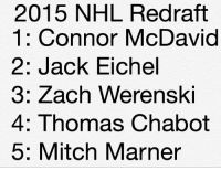 Agree? Disagree? Should I do this with more drafts? Check my story if you are confused.: 2015 NHL Redraft  1: Connor McDavid  2: Jack Eichel  3: Zach Werenski  4: Thomas Chabot  5: Mitch Marner Agree? Disagree? Should I do this with more drafts? Check my story if you are confused.