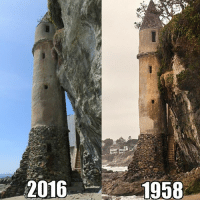 Built in 1926 for the family of William E. Brown, a state senator representing California's 37th District, the rocket like structure served as a gateway to and from Brown's home on top of the cliff. The beach is exactly how it was in 1926. Nature sure is beautiful.: 2016  1958 Built in 1926 for the family of William E. Brown, a state senator representing California's 37th District, the rocket like structure served as a gateway to and from Brown's home on top of the cliff. The beach is exactly how it was in 1926. Nature sure is beautiful.