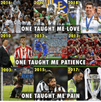 Football, Love, and Memes: 2016  2017  2018  ONE TAUGHT ME LOVE  2010  20123  2013:  ONE TAUGHT ME PATIENCE  2017  HE2  REALM  2003:  2015:  ONE TAUGHT ME PAIN This is football... 😭🥺❤️