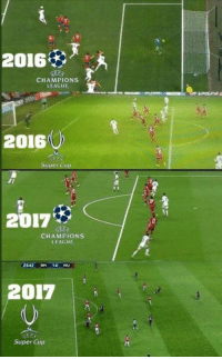 Real Madrid, Soccer, and Awkward: 2016  CHAMPIONS  LEAGUE  2016  Super Cup  2017%  CHAMPIONS  LEAGUE  2342RM 10 MU  2017  Super Cup The awkward moment when Real Madrid fans complain about an offside goal 🤔🤔 https://t.co/i5vihndryQ