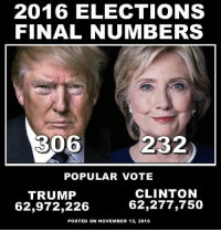 Memes Popular: 2016 ELECTIONS  FINAL NUMBERS  306  232  POPULAR VOTE  CLINTON  TRUMP  62,277,750  62,972,226  POSTED ON NOVEMBER 12, 2016