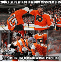 Logic, Memes, and National Hockey League (NHL): 2016: FLYERS WIN 10 IN A ROW, MISS PLAYOFFS  @nhl ref logic  2017: FLYERS LOSE,10 INAROW MAKE PLAYOFFS? I posted this exact picture in December when the Flyers lost 10 in a row. Damn I'm good.
