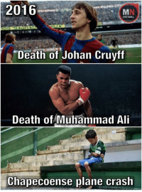 "Ali, Memes, and Muhammad Ali: 2016  FOOTBALL  ""Death of Johan Cruyff  Death of Muhammad Ali  Chapecoense plane crash 😞😞"