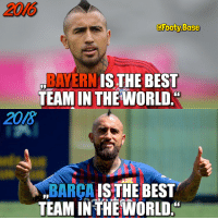 Memes, Best, and Barca: 2016  @Footy.Base  BAYERN ISTHE BES  TEAM IN THF IWORLD  2018  BARCA IS THE BEST  TEAM IN THEWORLD. Vidal 🤦‍♂️ Bayern or Barça? 👇 Follow @Footy.Base ✅