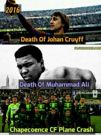 Ali, Memes, and Muhammad Ali: 2016  IRA  Death of Johan Cruyff  FB FORCABARCAUARS  Death of Muhammad Ali  CAIXA  CAI  Chapecoence CF Plane Crash 2016 was bad...😨😥😭 Credits:- Messi is my Idol, Barça is my Idolatry