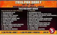 "Orgy, Alaska, and Masters: 2016 PBA DRAFT  OCT 30, 2016  ROBInsOns PLACE MALATE MANILA  2016 PBADRAFTORDER  ROUND  Special Draft (for Gilas PlayersU  1. BLACKWATER ELITE  1. BLACKWATER ELITE  2. STAR HOTSHOTS  2. PHOENIX FUEL MASTER (FROM STAR  J. PHOENIX FUELL MASTER  3. BRGY GINEBRA SAN MIGUEL FROM PHOEND)  4, MAHINDRA ENFORCER  4. MAHINDRAAIENFORCER  5. QLOBALPORTBATANG PER  5. STAR HOTSHOTS (FROM  QLOBALPORT  NLEX ROAD WARRIORS  0. SAN MIGUEL BEERMEN FROM NLExp  7. MERALCO BOLTS  7, MERALCO BOLTS  8. TNT KATROPA  8, NLEX ROAD WARRIORS (FROM TNT  D. RAIN OR SHINE ELASTO PAINTERS 0. RAIN OR SHINE ELASTO PAINTERS  10, BRGY. CINEBRA SAN MIGUEL  10, ORGY, GINEBRA SAN MIGUEL  11. ALASKA ACES  11. ALASKA ACES  12, PHOENDK FUEL MASTERS  12. SAN MIQUEL BEERMEN  3:30 PM PRE-ORRFTO4:00 PM ORAFTPROPER o LIUE AT ""2016 PBA DRAFT"""