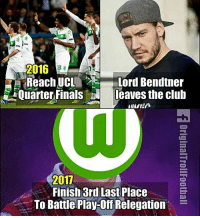 No Bendtner, No Party 😆 🔺Credit ➡️ AZR: 2016  Reach UCL  Lord Bendtner  Quarter Finals leaves the club  2017  Finish 3rd Last Place  To Battle Play-Off Relegation No Bendtner, No Party 😆 🔺Credit ➡️ AZR