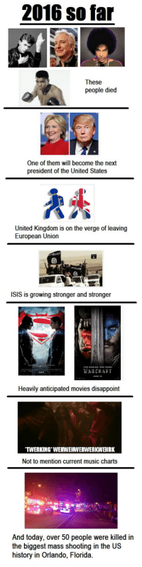 <p>And it's only June</p>: 2016 so far  These  people died  One of them will become the next  president of the United States  United Kingdom is on the verge of leaving  European Union  ISIS is growing stronger and stronger  WARCKAFT  Heavily anticipated movies disappoint  TWERKING WEHWEHWERWERKWEHRK  Not to mention current music charts  And today, over 50 people were killed in  the biggest mass shooting in the US  history in Orlando, Florida. <p>And it's only June</p>