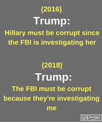 Fbi, Trump, and Her: (2016)  Trump:  Hillary must be corrupt since  the FBI is investigating her  (2018)  Trump  The FBI must be corrupt  because they're investigating  me  U.SDemSoc