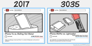 Facebook, Iphone, and Lightsaber: 2017  3035  YouTubeiphone durability test  YouTubeiphone durability test  iPhone 7s vs. Boiling Hot Water  iPhone 36245 vs. Lightsabeir  5,488,914,002 views  105,512,004,013 views from Earth  2,011,76 views from Mars  techracks  techracks  Today, we submerge a brand new iPhone 7+ in a bowl of boiling water. Let's see how it  handles it!  Can a lightsaber cut through Gorilla Glass 42? Let's find out!  Shoutout to my boy Haricz from Mars for this idea!  facebook.com/RAFComics omg-images:  YouTube 1000 years from now [OC]