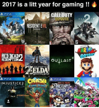 Lit, Memes, and South Park: 2017 is a litt year for gaming  CALLDUTY  ORizoN  DEST  RESIDENTE  VIL  RP  REDEMPTION  OU LAST  THE LEGEND OF  BREATH TMrWILD  PTA.  CRASH  PSA  INJUSTICE 2  SOUTH PARK  TCMFGames Lit with two T's? @tcmfgames