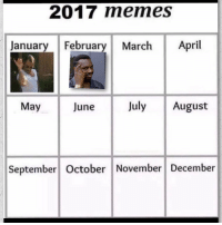 """Meme, Memes, and Social Media: 2017 memes  January February March April  May  June  July August  September October November December <p>Meme Calendar vote: So I've been seing this meme calendar floating around the social media and though we should have a vote on what memes become the memes of the month. Let your voice be heard, what should be the memes of jan, feb and march 2017? via /r/memes <a href=""""http://ift.tt/2maTk5m"""">http://ift.tt/2maTk5m</a></p>"""