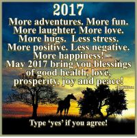 """Horses, Memes, and Horse: 2017  More adventures. More fun.  More laughter, More love.  More hugs. Less stress.  More positive. Less negative.  More happiness  May 2017 bring you blessings  of good health love,  prosperity, joy and  peace  Unknown  Type """"yes' if you agree! <3 The Horse Mafia"""
