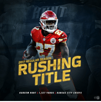 Another rookie on top.  @Kareemhunt7 wins the 2017 Rushing Title! #ChiefsKingdom https://t.co/pAf4ZHLEzY: 2017 REGULAR SEASON  RUSHING  TITLE  KAREEM HUNT / 1,327 YARDS KANSAS CITY CHIEFS  C@  NFL Another rookie on top.  @Kareemhunt7 wins the 2017 Rushing Title! #ChiefsKingdom https://t.co/pAf4ZHLEzY
