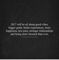 2017 goals 🙌  📸 @thinkgrowprosper: 2017 will be all about good vibes,  bigger goals, better experiences, more  happiness, less pain, stronger relationships  and being more focused than ever.  THINK GROW PRO SPER 2017 goals 🙌  📸 @thinkgrowprosper