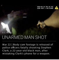"""Stephen Clark, a 22-year-old black man, was shot and killed by two police officers who discharged 20 rounds in Clark's backyard, mistaking his iPhone for a weapon. The two officers were responding to a 911 call about a man breaking a vehicle window in Sacramento, CA when they encountered Clark. Sacramento Police have not yet determined whether Clark is being treated as a victim or a suspect. ___ The Sacramento Police Department released the following statement: . """"Prior to the shooting, the involved officers saw the suspect facing them, advance forward with his arms extended, and holding an object in his hands. At the time of the shooting, the officers believed the suspect was pointing a firearm at them. After an exhaustive search, scene investigators did not locate any firearms. The only item found near the suspect was a cell phone."""" ___ Photo: Renee C. Byer 