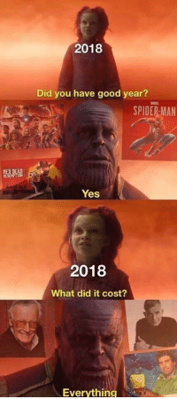 Spider, SpiderMan, and Good: 2018  Did you have good year?  SPIDER-MAN  REDNEAR  Yes  2018  What did it cost?  Everything Right in the feels..