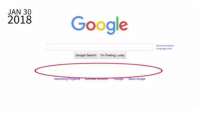 Google, Google Search, and Search: 2018 Google  JAN 30  Google Search m Feeling Lucky  urduorss g About Google Google is controlling what you can and cannot see. Stop the bias!