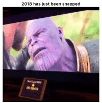 Funny, Twitter, and Perfect Timing: 2018 has just been snapped  New Years 2019  00:00:03 Perfect timing 😂😂 👉🏽(via: iamgeekingout-twitter)