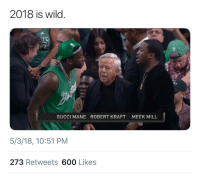 <p>Kanye said what? (via /r/BlackPeopleTwitter)</p>: 2018 is wild.  GUCCI MANE  ROBERT KRAFT  MEEK MILL  5/3/18, 10:51 PM  273 Retweets 600 Likes <p>Kanye said what? (via /r/BlackPeopleTwitter)</p>