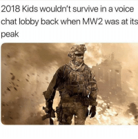 Facts or nah? @thehoodtube: 2018 Kids wouldn't survive in a voice  chat lobby back when MW2 was at its  peak Facts or nah? @thehoodtube