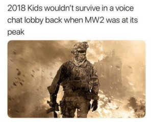 Weak generation of gamers: 2018 Kids wouldn't survive in a voice  chat lobby back when MW2 was at its  peak Weak generation of gamers