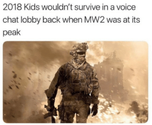 Very true: 2018 Kids wouldn't survive in a voice  chat lobby back when MW2 was at its  peak Very true