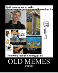 2018 memes are so weird  give me some good memes like we had ba  in the 2000s  oh hai g  WHEN YOU SEE IT  Yea'll Shit Bris  GIRUGAMESH!  MUDKIPZ  ANONYMOUS  so i herd u liek mudkipz?  TS ALL YOUR BASE ARE BELONG  TO US  They were real EPIC WIN guys xD  OLD MEMES  EPIC WIN