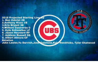 The Cubs Dynasty will rise! #FlyTheW: 2018 Projected Starting Line p  1. Ben Zobrist 2B  2.Anthony Rizzo 1B  3.Kris Bryant 3B  4.Willson Contreras C  5. Kyle Schwarber LF  6. Jason Heyward RF  7. Addison Russell SS  8. Albert Almora CF  Rotation  John Lester,Yu Darvish,Jose Quintana,Ky Hendricks, Tyler Chatwood  UBS  TALKERS The Cubs Dynasty will rise! #FlyTheW