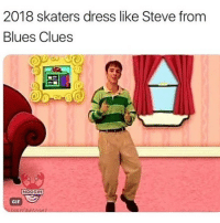 Blue's Clues, Facts, and Gif: 2018 skaters dress like Steve from  Blues Clues  NOGGIN  GIF Facts 😂💀💯 Skatermemes