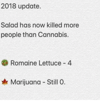 Thoughts on this? 👇🤔 https://t.co/7c5NsoqPgY: 2018 update.  Salad has now killed more  people than Cannabis.  Romaine Lettuce 4  Marijuana Still 0. Thoughts on this? 👇🤔 https://t.co/7c5NsoqPgY