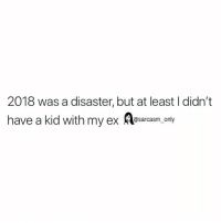 Funny, Memes, and Twitter: 2018 was a disaster, but at least I didn't  have a kid with my ex esarcasm, onvy (Via twitter-marryxusami)