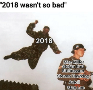 "Bad, Mac Miller, and Stan: ""2018 wasn't so bad""  2018  Mac Miller  Stefan Karl  Stefansson  Steven Hawking  Avicii  Stan Lee I know we are in 2019 but 2018 was pretty bad"