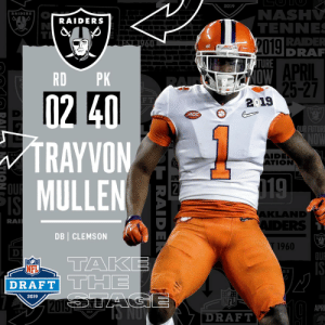 Future, Memes, and Nfl: 2019  NASH  TENNE  RADE  DRA  RAIDERS  RAIDERS  TURE  APRIL  RD PK  F T  2019  ACC  UR FUTURE  TRAYVON  MULLEN  IDEN  TION  RA  APR  KLANND  RA  DB CLEMSON  1960  OU  TAKE  NFL  R S  2019  APRI  2019  DRAFT  KLA With the #40 overall pick in the 2019 @NFLDraft, the @Raiders select DB Trayvon Mullen! #NFLDraft https://t.co/3kJhUgU5Lu