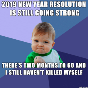 Yeah: 2019 NEW YEAR RESOLUTION  IS STILL GOING STRONG  THERE'S TWO MONTHS TO GO AND  I STILL HAVEN'T KILLED MYSELF  made on imgur Yeah
