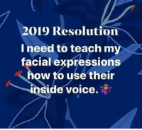 Memes, How To, and Voice: 2019 Resolution  I need to teach my  facial expressions  how to use their  inside voice.