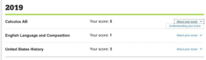 Guess, History, and Jokes: 2019  Your score: 5  Calculus AB  About your score  Understanding your score  Your score: 1  English Language and Composition  About your score  United States History  Your score:  About your score I guess they didn't like my knock knock jokes...