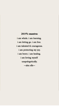 Brave, Free, and Courageous: 2019's mantra:  i am whole. i am learning.  i am letting go. i am free.  i am talented & courageous.  i am protecting my joy.  i am brave. i am healing.  i am loving myself  unapologetically.  -alex elle-