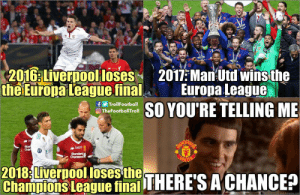 Man Utd fans be like https://t.co/EZesGXjl3x: 201G:LiverDooolloses2011:Ma Utd winsthe  the Europa League  final Europa League  fTrollFootball  O TheFootballTroll  YOU'RE TELLING ME  Char  2018 Liverpool loses{  Cha ulvors ßeaous fithi THERACHANCE? Man Utd fans be like https://t.co/EZesGXjl3x