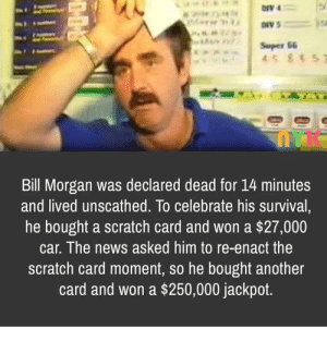 Bills a lucky guy.: 204 M  AI0  Super 66  45 857  Bill Morgan was declared dead for 14 minutes  and lived unscathed. To celebrate his survival,  he bought a scratch card and won a $27,000  car. The news asked him to re-enact the  scratch card moment, so he bought another  card and won a $250,000 jackpot. Bills a lucky guy.