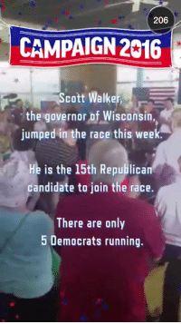 Party, The Ring, and Republican Party: 206  CAMPAIGN 2016  4  Scott Walke  the governor of Wisconsin,  jumped in the race this week  He is the 15th Republica  candidate to join the race.  There are only  5 Democrats running. <p>Not that surprising. The Republican Party is the party free thinkers so you have a lot of people from all kinds of spectrums wanting to throw their hat in the ring. Meanwhile with the Democrats, one Socialist dictator is as good as another.</p>